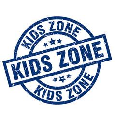 Kids zone blue round grunge stamp vector
