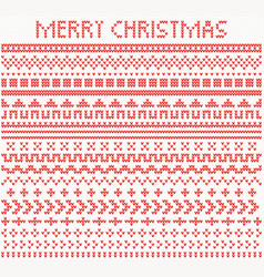 Knitted dividers and borders for christmas and vector