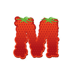 Letter m strawberry font red berry lettering vector