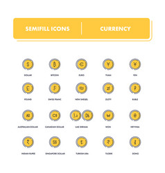 Line icons set currency vector