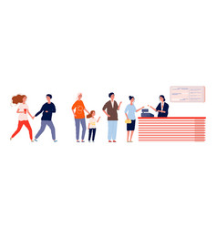 long queue to cinema people waiting line buying vector image