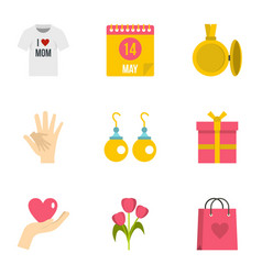 Mom day icon set flat style vector