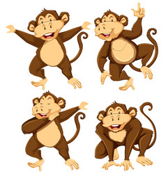 monkey character with different pose vector image