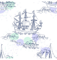 nautical background with sailing vessels vector image