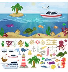 Nautical navy boats marine ocean sea animals vector