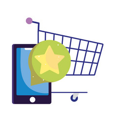 Online payment smartphone shopping cart ecommerce vector