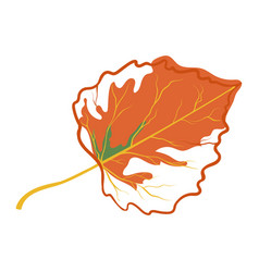orange autumn leaf icon fall time symbol vector image