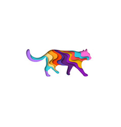 paper cut shape cat 3d origami vector image