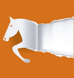 Paper horse ripping paper background vector