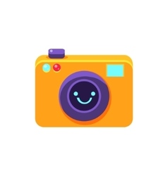 Photo Camera Primitive Icon With Smiley Face vector