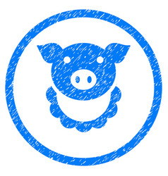 Pig reward rounded grainy icon vector