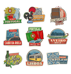 portugal landmarks and travel icons vector image