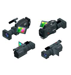 professional digital video camera flat 3d vector image