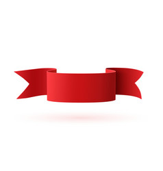 Red curved paper ribbon isolated on white vector