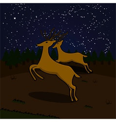 Reindeer at night vector
