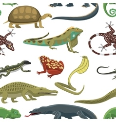 Reptiles animals seamless pattern vector image