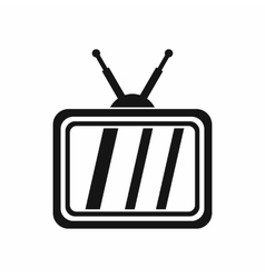Retro TV icon simple style vector image