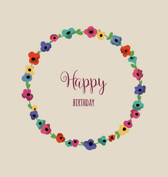 round floral frame cute colorful flowers vector image