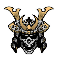samurai skull art warrior helmet vector image