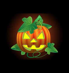 scary jack lantern halloween pumpkin with a vector image