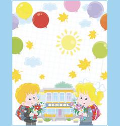 School background with happy kids vector