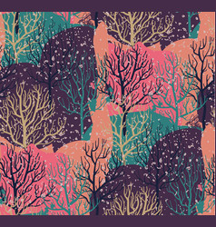 seamless pattern with winter forest vector image