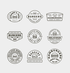 set burger logos retro styled fast food vector image