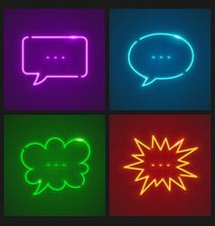 Set message clouds neon vector