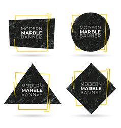 set modern banners with marble texture vector image