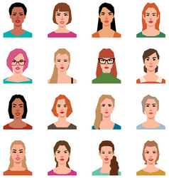 set of avatars of women in a flat style vector image