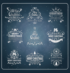 set of creative christmas and new year 2018 icon vector image