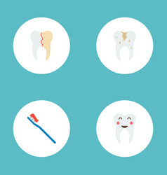 set of dental icons flat style symbols with vector image