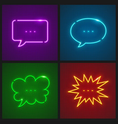 Set of message clouds neon vector