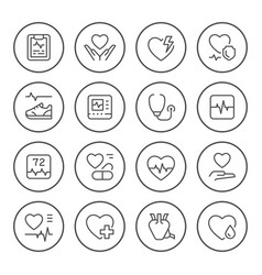 Set round line icons of heart vector