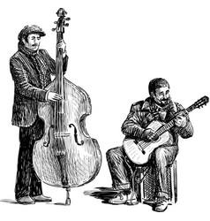 Sketch street musicians vector