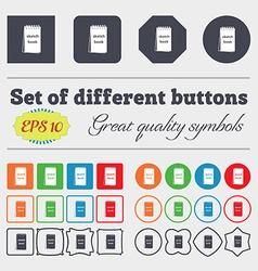 Sketchbook icon sign Big set of colorful diverse vector