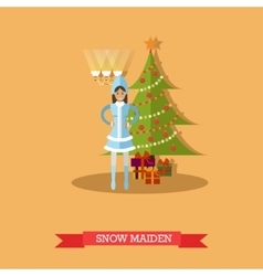 Snow Maiden near New Year vector