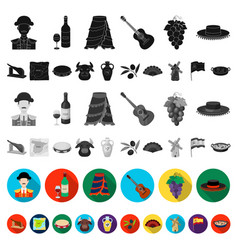 spain country flat icons in set collection for vector image