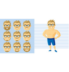summer style man face set cartoon character vector image