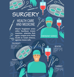 Surgery medicine poster with doctor and instrument vector