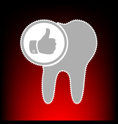 tooth with thumbs up symbol vector image