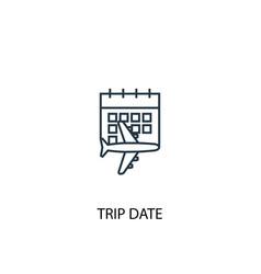 trip date concept line icon simple element vector image