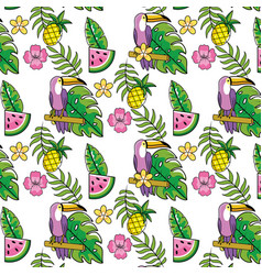 tropical summer seamless pattern cartoon vector image