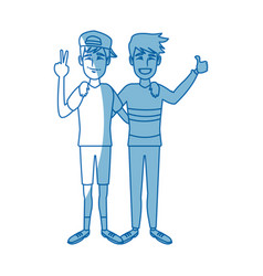 Two boys smiling hugging and waving their hands vector