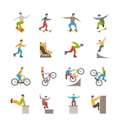 Urban sport icons with people vector