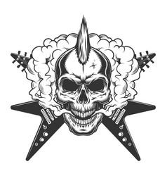 Vintage rock musician skull with mohawk vector