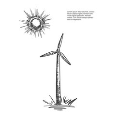 windmill-sun-sketch vector image