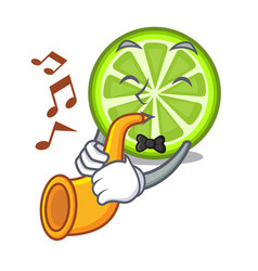With trumpet green lemon slices in character vector