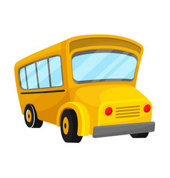 Yellow school bus of corner projection with curved vector