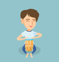 young caucasian woman playing the ethnic drum vector image